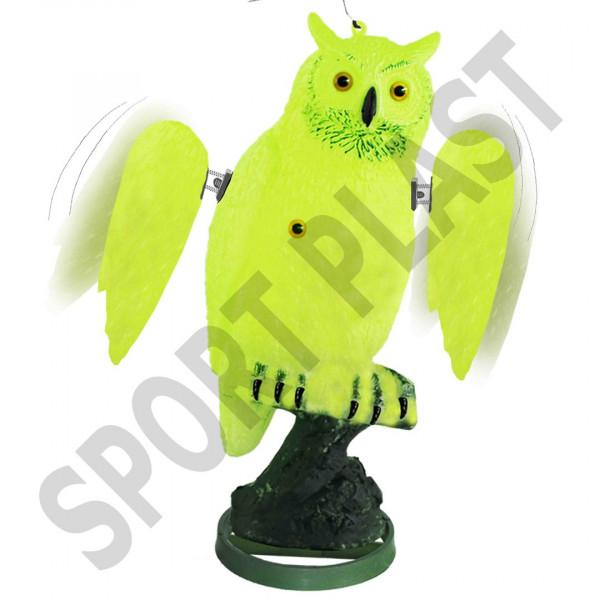 Sportplast Vogelschreck Uhu flureszierend mit beweglichen Flügeln