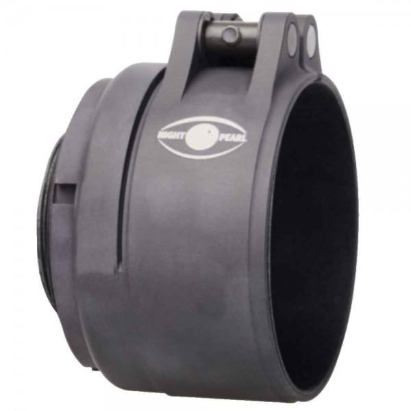 Der Adapter wird mit dem Monucular fest verschraubt und auf der Optik festgeklemmt.