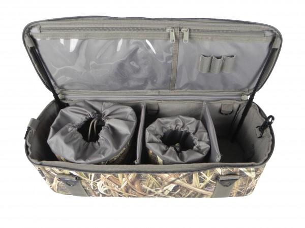 Die Layout Blind Bag Mossy Oak unterstützt auf der Gänsejagd druch reichlich Stauraum und den fixierbaren Deckel