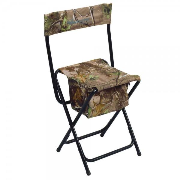 Der Jagdstuhl ist klappbar und in Realtree Camo gehalten.